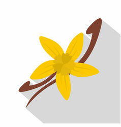 vanilla pods and flower icon flat style vector image