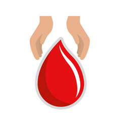 Hands with blood drop donation symbol vector
