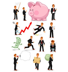 businessman character in different situations set vector image