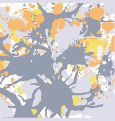 orange yellow grey ink splashes background square vector image