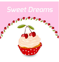 cupcake and cherry greeting card template vector image