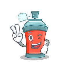 Two finger aerosol spray can character cartoon vector