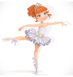 Beautiful little ballerina girl in white dress vector