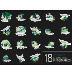 Set of modern polygonal origami paper infographics vector image