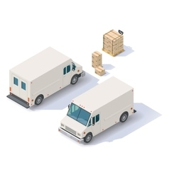 Isometric delivery van vector