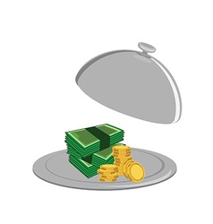 Money on serve plate vector