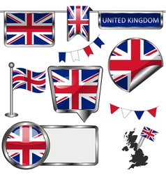 Glossy icons with united kingdom flag vector