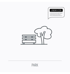 Public park icon tree with bench sign vector