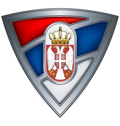 Steel shield with flag serbia vector