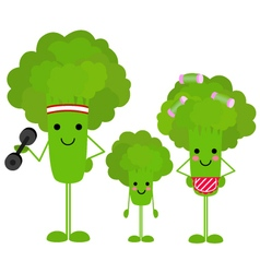 Healthy family broccoli vector