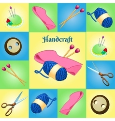 Modern set for needlework seven different objects vector