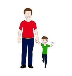 Happy dad holding baby son by the hand vector