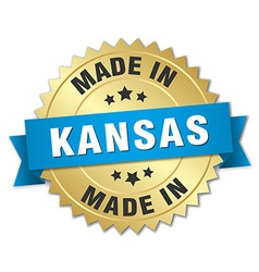 Made in kansas gold badge with blue ribbon vector