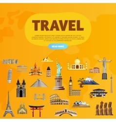 Travel the world monument concept road trip vector