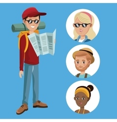 Boy tourist read map guide with group girls vector
