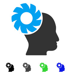 Brain wheel flat icon vector