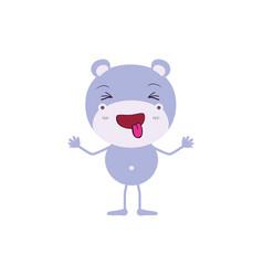 Colorful caricature of cute hippopotamus disgust vector