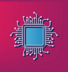 Cpu microprocessor blue 3d vector