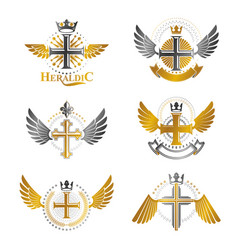 crosses religious emblems set heraldic coat of vector image vector image