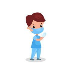 cute boy doctor in professional clothing in vector image vector image