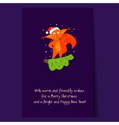 Cute squirrel standing on a branch christmas vector