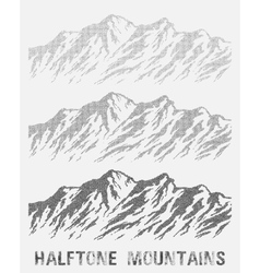 Halftone nountain range set vector image vector image