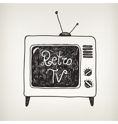 hand drawn doodle retro tv isolated vector image