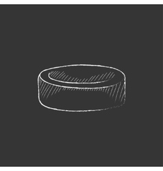 Hockey puck Drawn in chalk icon vector image vector image