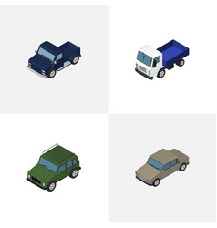 Isometric car set of suv auto lorry and other vector