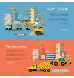 Modern building process of pouring concrete vector