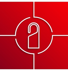 Modern white circle icon on red background vector
