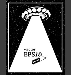 monochrome ufo invasion frame vector image vector image