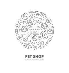 Pet shop logo with linear icons of cats vector image