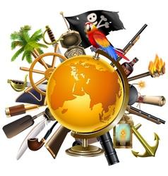Pirate globe concept vector