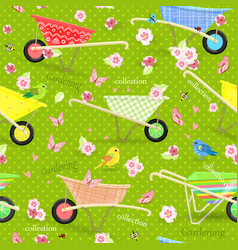 retro seamless texture with cute garden vector image vector image