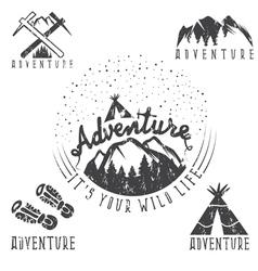 Set of vintage grunge labels mountain adventure vector