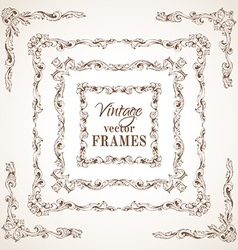 Set of vintage sepia frames vector