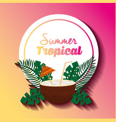 summer tropical cocktail coconut with umbrella vector image
