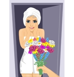 Surprised young woman receiving bouquet of flowers vector