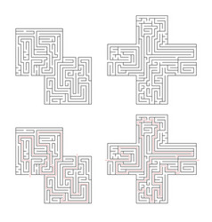 two complicated labyrinths with red path of vector image