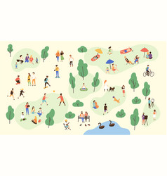 Various people at park performing leisure outdoor vector