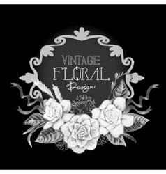 Vintage monochrome floral design vector