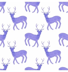 Watercolor seamless pattern with deers on the vector image