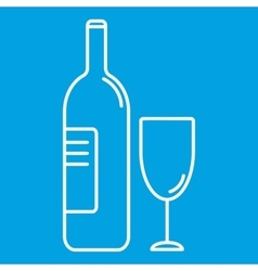 Wine bottle and glass thin line icon vector image vector image