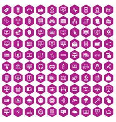100 internet icons hexagon violet vector image vector image