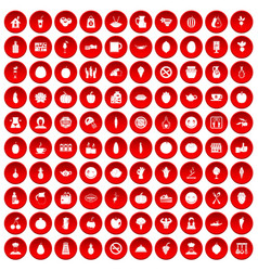 100 vegetarian cafe icons set red vector