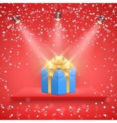 Red presentation platform and gift box vector