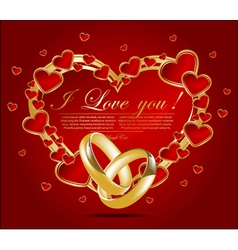 Abstract card with glossy red hearts vector
