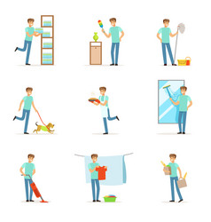 Smiling househusbands washing cooking cleaning vector