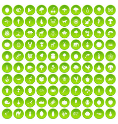 100 live nature icons set green circle vector
